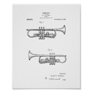 Design For A Trumpet Patent Poster
