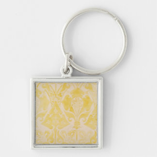 Design for a velvet or silk brocatelle, 1850 (penc Silver-Colored square key ring