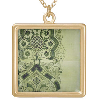 Design for an Ecclesiastical wallpaper print (ink Square Pendant Necklace