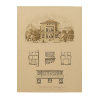 Design for an Estate with Interior Plans Wood Wall Decor