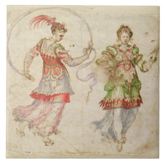 Design for Costumes, probably in the Florentine In Large Square Tile
