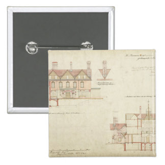 Design for Joldwyns, Surrey, 1872 (pen & ink and w 15 Cm Square Badge