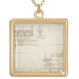 Design for Joldwyns, Surrey, 1872 (pen & ink and w Gold Plated Necklace