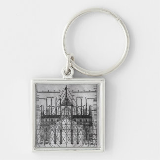 Design for Milan Cathedral Silver-Colored Square Key Ring