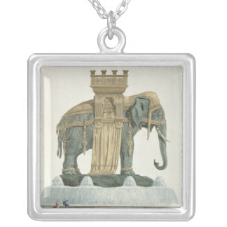 Design for the Elephant Fountain Silver Plated Necklace