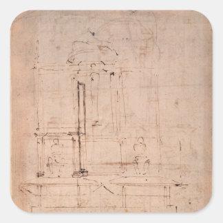 Design for the tomb of Pope Julius II Square Sticker