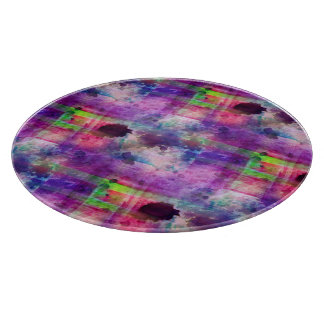 Design green, purple texture watercolor cutting board