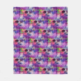 Design green, purple texture watercolor fleece blanket