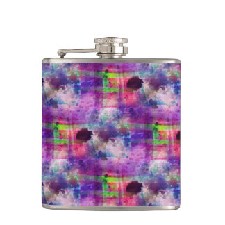 Design green, purple texture watercolor hip flask