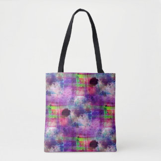 Design green, purple texture watercolor tote bag
