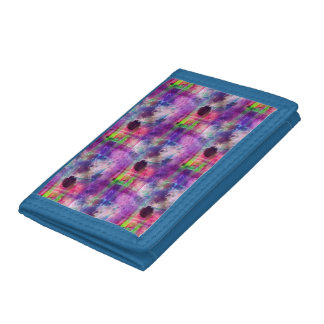 Design green, purple texture watercolor tri-fold wallets