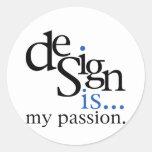 Design is... (blue) classic round sticker