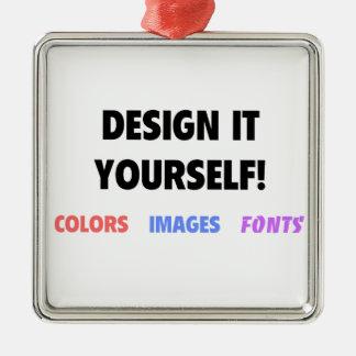 Design It Yourself On Silver-Colored Square Decoration