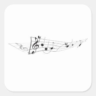 Design Of A Twisting Musical Score Square Sticker