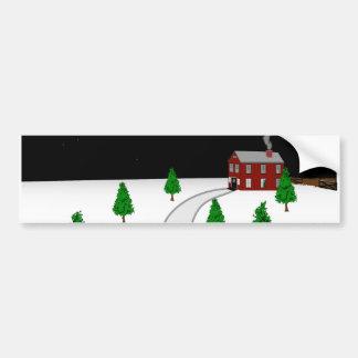 Design of a Winter Christmas Snow Scene Bumper Sticker
