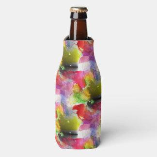 Design texture red, yellow watercolor bottle cooler