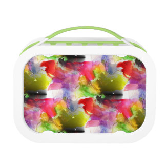 Design texture red, yellow watercolor lunch box