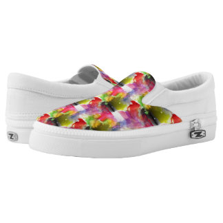 Design texture red, yellow watercolor Slip-On shoes