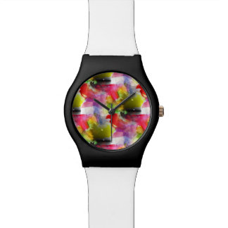 Design texture red, yellow watercolor watch