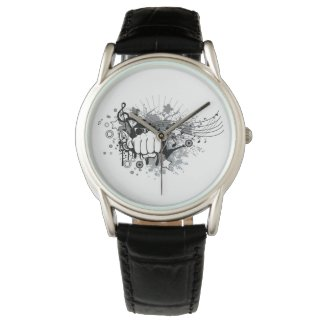 Design with fist,stars and musical notes watches