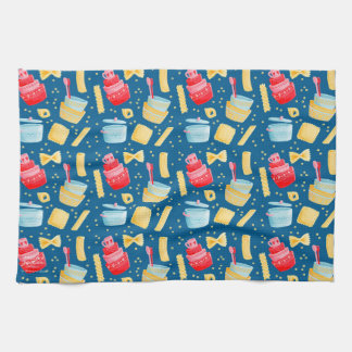 Design with italian pasta and casseroles tea towel