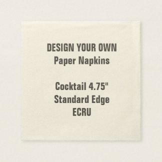 """Design Your Own 4.75"""" ECRU Cocktail Napkins Disposable Serviette"""
