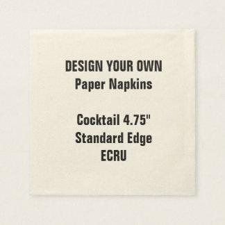 "Design Your Own 4.75"" ECRU Cocktail Napkins Standa Paper Napkin"