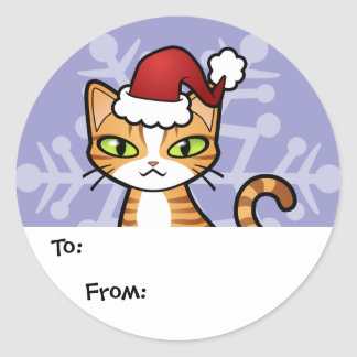 Design Your Own Cartoon Cat (Christmas) Classic Round Sticker