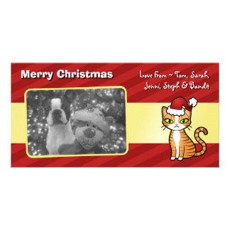 Design Your Own Cartoon Cat (Christmas) Photo Card Template