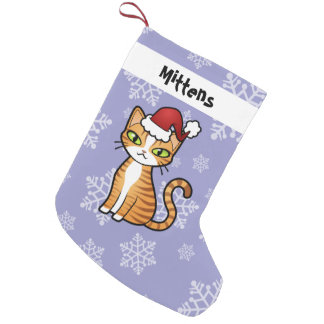 Design Your Own Cartoon Cat (Christmas) Small Christmas Stocking