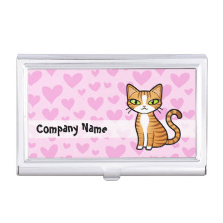 Design Your Own Cartoon Cat (love hearts) Business Card Holder