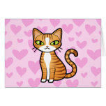 Design Your Own Cartoon Cat (love hearts) Greeting Card