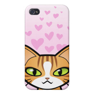 Design Your Own Cartoon Cat (love hearts) Case For The iPhone 4