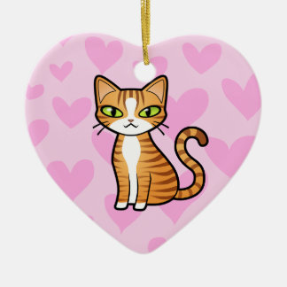 Design Your Own Cartoon Cat (love hearts) Christmas Ornament