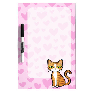 Design Your Own Cartoon Cat (love hearts) Dry Erase Board