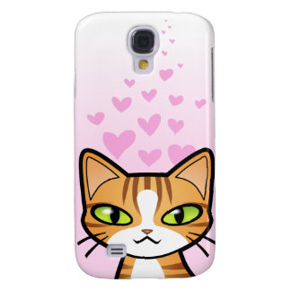 Design Your Own Cartoon Cat (love hearts) Galaxy S4 Case