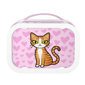 Design Your Own Cartoon Cat (love hearts) Lunch Box