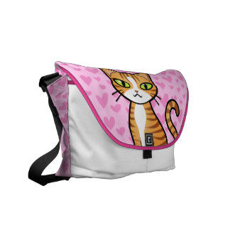 Design Your Own Cartoon Cat (love hearts) Messenger Bags