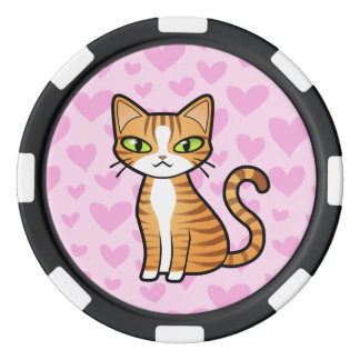 Design Your Own Cartoon Cat (love hearts) Poker Chip Set