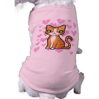 Design Your Own Cartoon Cat (love hearts) Sleeveless Dog Shirt