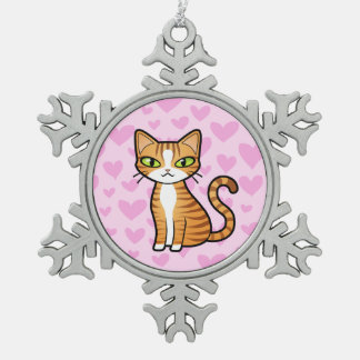 Design Your Own Cartoon Cat (love hearts) Snowflake Pewter Christmas Ornament