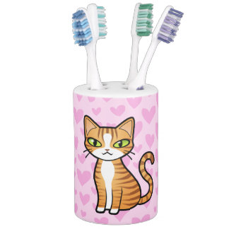 Design Your Own Cartoon Cat (love hearts) Soap Dispenser And Toothbrush Holder