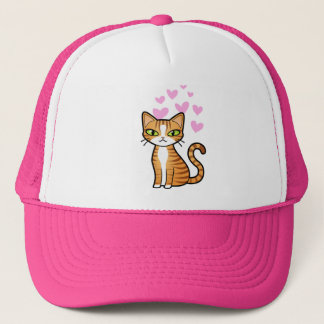 Design Your Own Cartoon Cat (love hearts) Trucker Hat