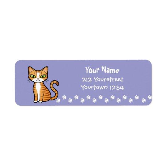 Design Your Own Cartoon Cat Return Address Label