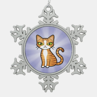 Design Your Own Cartoon Cat Snowflake Pewter Christmas Ornament