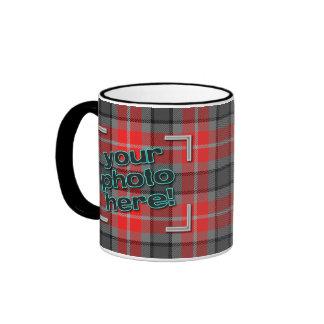 DESIGN YOUR OWN! Grey / Red Plaid Photo Mug