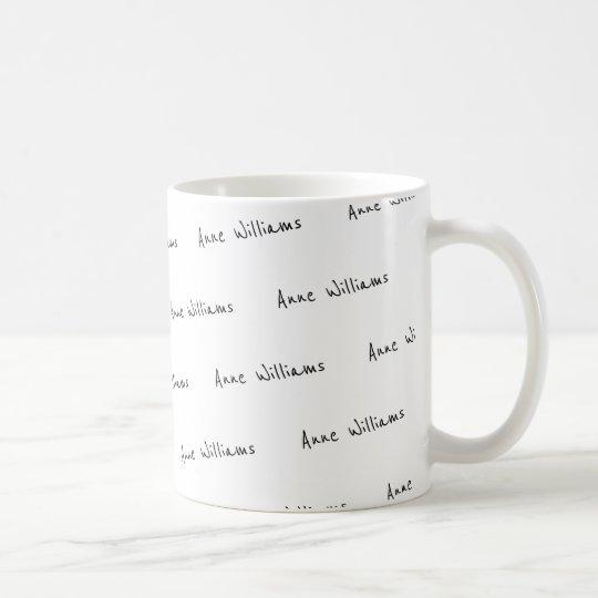 design your own name pattern white coffee mug