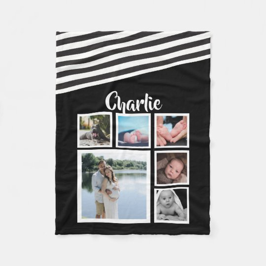 Design Your Own Personalised Black and White Fleece Blanket