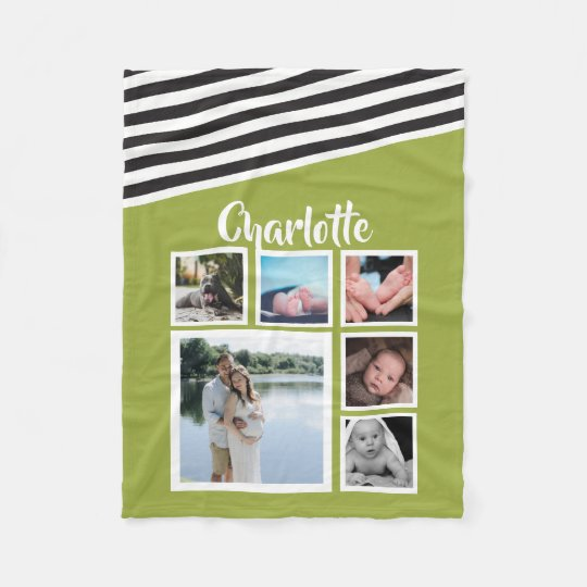 Design Your Own Personalised Bright Green Striped Fleece Blanket