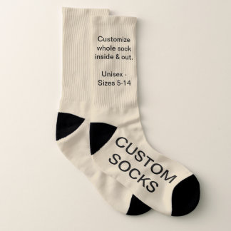 Design Your Own Personalised Large BEIGE Socks 1